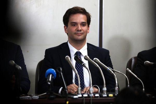 Mark Karpelès lors d'une conférence de presse au Japon le 11 juillet 2017
