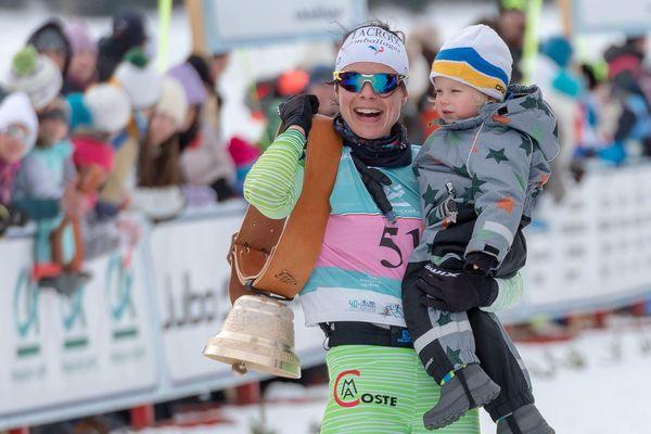 Anouk Faivre-Picon vainqueur de la Transjurassienne 2019 et son fils Even