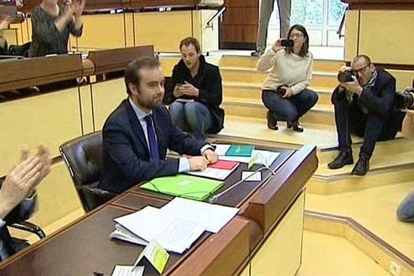 Archive. Sébastien Lecornu après son élection en avril 2015