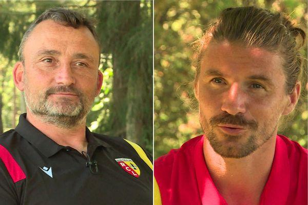 L'entraîneur du RC Lens Franck Haise et le milieu de terrain Yannick Cahuzac.