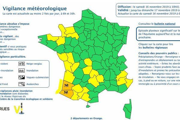 Capture écran carte de Météo France du samedi 16 novembre 2019.
