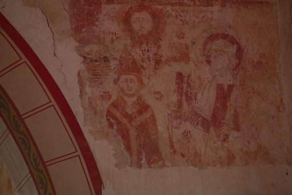 décors peints sur les murs de l'église saint-Hilaire
