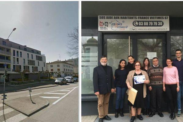 Une partie de l'association SOS Aide aux habitants devant leurs locaux du quartier Neuhof, à Strasbourg.