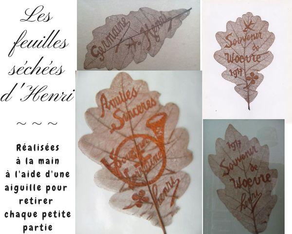 Quelques exemples de feuilles séchées et percées à l'aiguille pour laisser apparaître du texte.