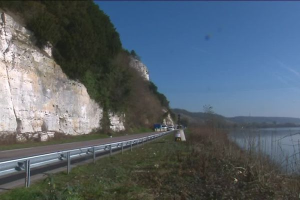 Février 2019- la RD 982 entre Duclair et Rouen
