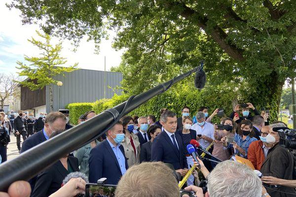 Le ministre de l'Intérieur Gérald Darmanin s'est rendu à la Chapelle-sur-Erdre le 28 mai 2021.