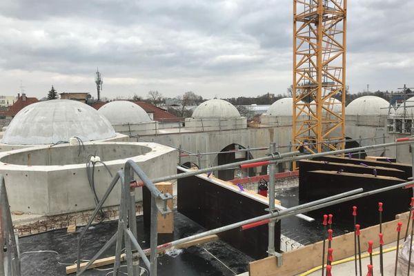Le chantier de la mosquée Eyyub Sultan, à la Meinau, le 22 mars 2021.