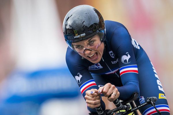 """La Bretonne, Audrey Cordon-Ragot, ici aux championnats du Monde 2017, avait remporté en 2019 l' édition du Tour de Bretagne féminin, l'ancêtre du """"Bretagne Ladies Tour""""."""