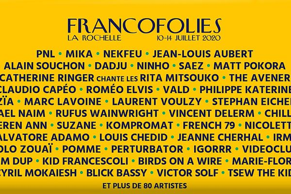 Programmation des Francofolies 2020
