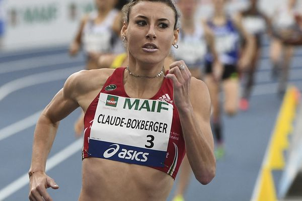 Ophélie Boxberger en février 2019 à Miramas, sur le 1,500m des championnats de France.