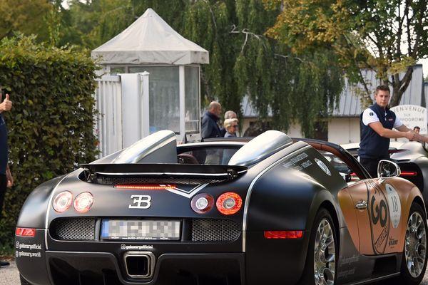 (Photo archives, Sep 6, 2019) Arrivée d'une voiture Bugatti à l'hippodrome de Nancy-Brabois pour faire le plein d'essence et prendre une collation lors du Grand Tour 2019.