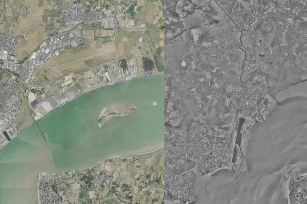La ville de Saint-Nazaire et l'estuaire de Loire aujourd'hui et en 1960 avant la construction du Pont de Saint-Nazaire