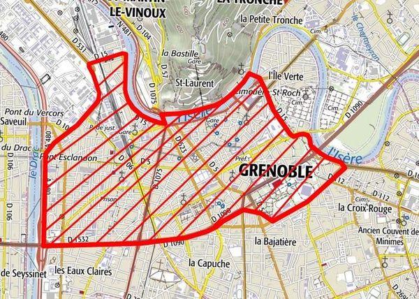 Voici la zone où le port du masque devient obligatoire à Grenoble.