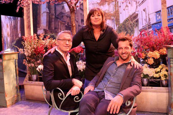 Michèle Bernier, entourée de Laurent Ruquier et Frédéric Diefenthal.