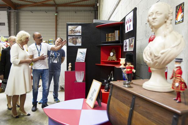 La Fondation Emmaus de Vénissieux (Rhône) lors d'une visite de la Princesse de galles en mai 2018