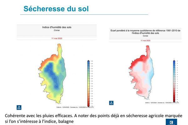 Carte de l'état de sécheresse des sols en Corse.