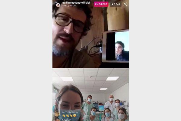 Pendant une demi-heure, Guillaume Canet et Leïla Bekhti ont discuté avec les soignants d'une unité covid-19 du CHU de Nantes.