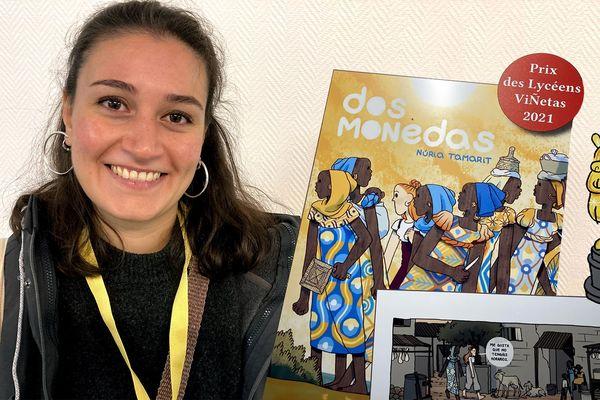 L'autrice espagnole de bande dessinée, Núria Tamarit, à Poitiers, vendredi 15 octobre 2021, a reçu cette année le Prix des lycéens au festival Viñetas.