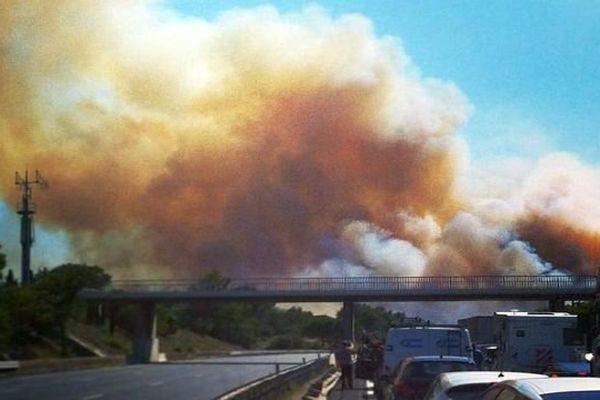 A.9 - le feu de Montbazin et la fumée traversent l'autoroute bloquée depuis 2 heures - 31 juillet 2014.