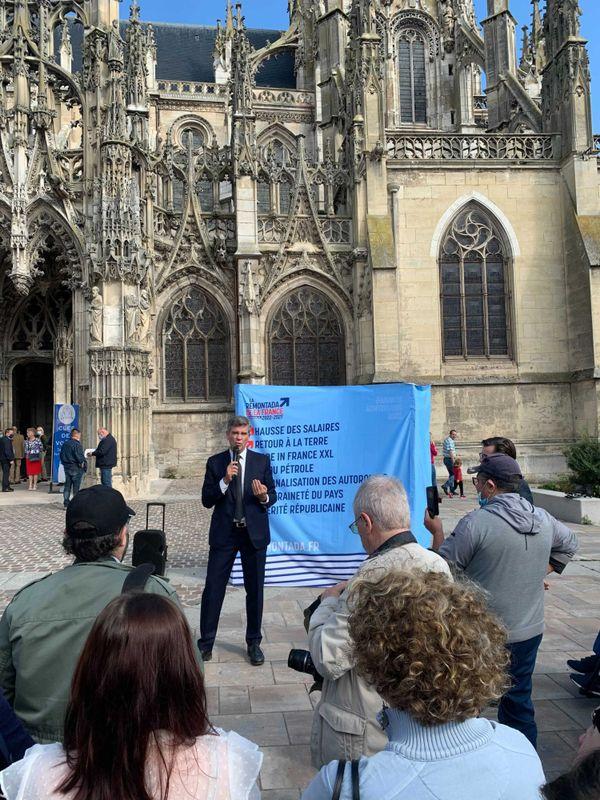 18 septembre 2021 : Arnaud Montebourg en campagne pour l'élection présidentielle à Louviers (Eure)