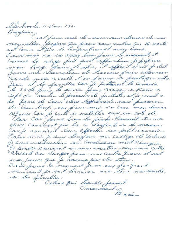 Une lettre de Marius à Christian écrite en 1981 ou le vétéran évoque son intention de revenir en Normandie.