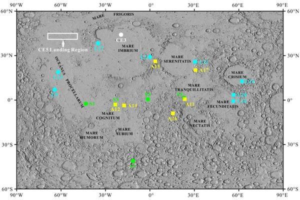 Site lunaire de 600 km x 150 km pour permettre à Chang'e5 de se poser