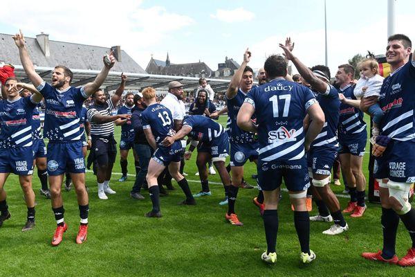 Le 12/05/2019. Pro D2 Play-off RC Vannes / Mont-De-Marsan : la joie des joueurs du RC Vannes suite à leur victoire face à Mont-De-Marsan 50 à 10