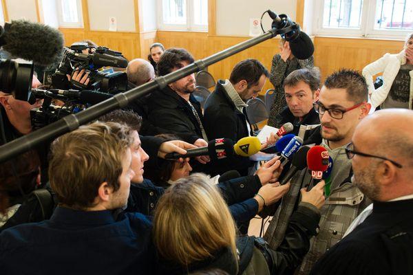 Nicolas Chafoulais, le père de Fiona, répond aux journalistes. Le 11 janvier 2017
