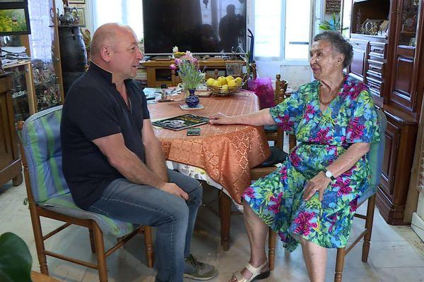 Thierry Félix recueille le témoignage de Marinettte Ravidat, veuve de l'un des 4 inventeurs de Lascaux