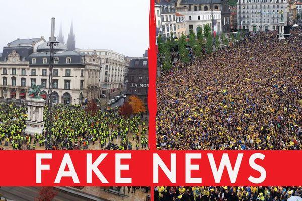 A gauche : la vraie photo du rassemblement des gilets jaunes place de Jaude à Clermont-Ferrand le 17 novembre. A droite : la photo relayée sur les réseaux sociaux. Photo prise, en mai 2017, montrant des supporters de l'ASM Clermont-Auvergne.