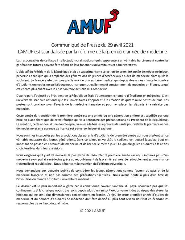 Communiqué de presse AMUF
