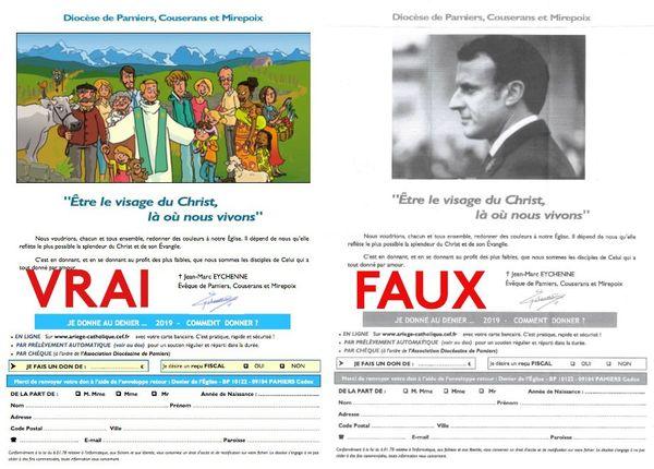 A gauche le vrai document, à droite le faux