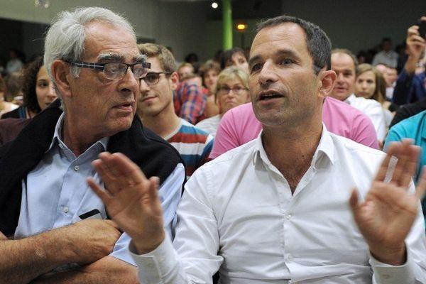Emmanuelli et Hamon à la Rochelle le 29 août 2014.