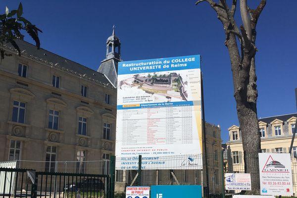 Le chantier du collège Université, à Reims, ne redémarrera pas avant des semaines.