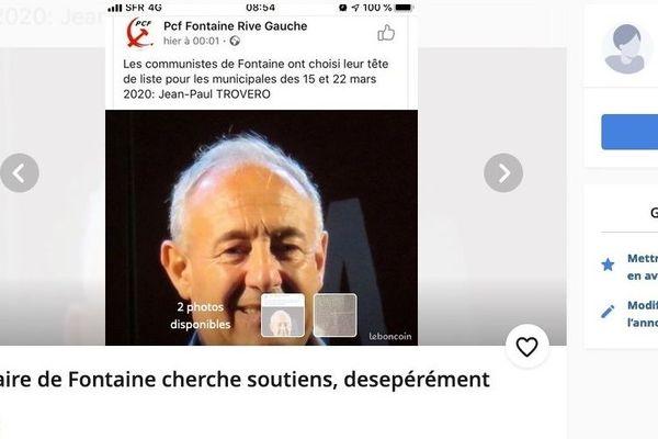 """Mardi 21 janvier, Franck Longo, tête de liste Modem de Fontaine, a publié un """"appel à soutien humoristique"""" pour le maire actuel Jean-Paul Trovero."""
