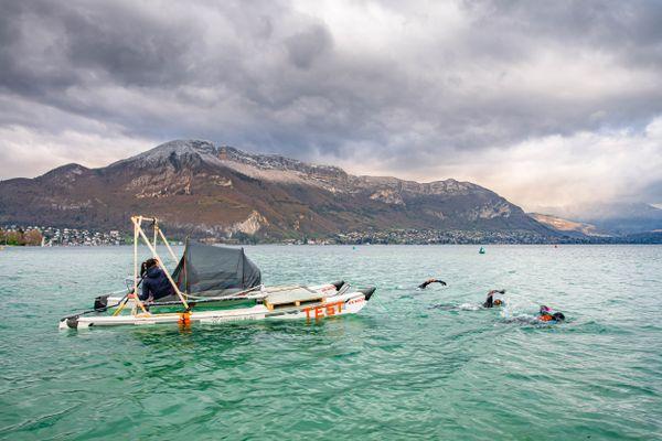 Entraînement sur le lac d'Annecy. Avril 2021.