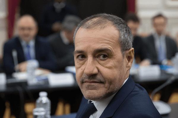 Jean Guy Talamoni, président de l'Assemblée de Corse lors d une réunion à Paris, le 12 février 2018