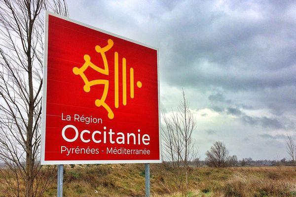 Castelnaudary (Aude) - le premier panneau Région Occitanie au parc régional d'activités économiques Nicolas Appert - 13 février 2017.