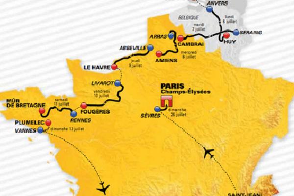 Le parcours du Tour de France cycliste 2015