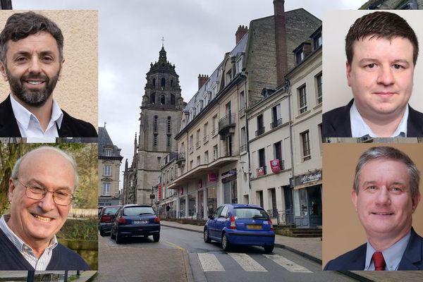 Les candidats aux municipales 2020 à Argentan : Karim Houllier, Romain Barelle, Jean-Louis Carpentier et Frédéric Leveillé