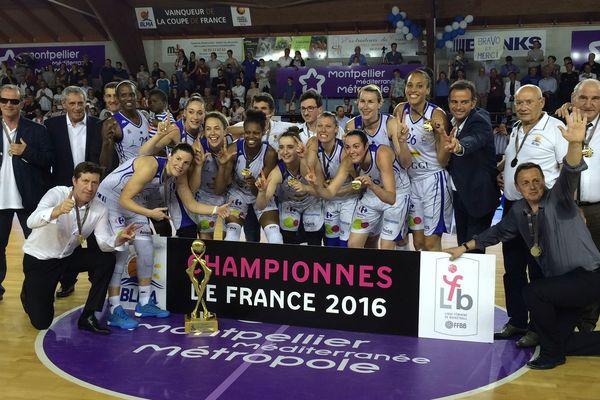 Lattes (Hérault) - les filles du BLMA Montpellier championnes de France face à Bourges - 15 mai 2016.