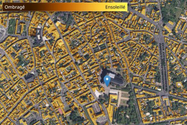Le centre-ville de Bourges, passé à la moulinette du cadastre solaire.