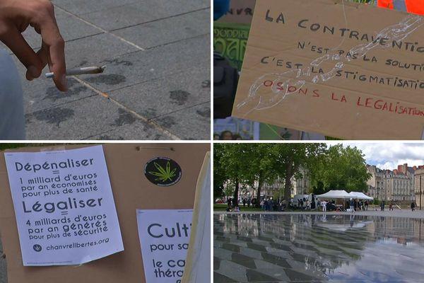 Le rassemblement avait lieu au miroir d'eau dans le centre-ville de Nantes. Plusieurs associations avaient installé leurs stands d'information.
