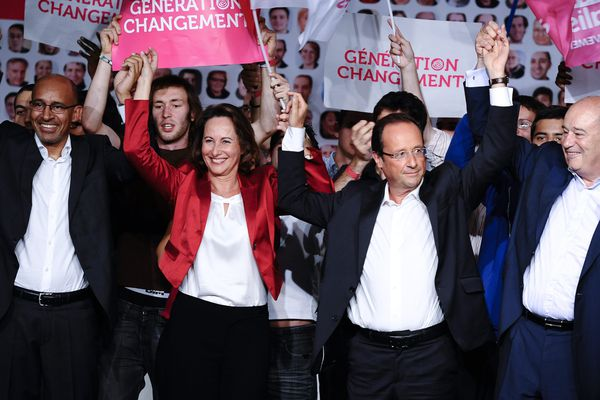 Le 28 août 2011. Clôture de l' Université d'été du Parti Socialiste a la Rochelle. La dernière participation de Ségolène Royal en présence de Harlem Désir, François Hollande et Jean Michel Baylet (PRG)