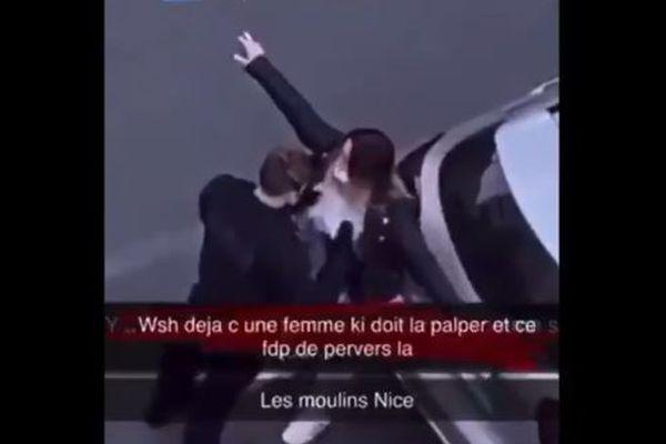 La vidéo d'une palpation de sécurité d'une femme dans le quartier des Moulins à Nice.