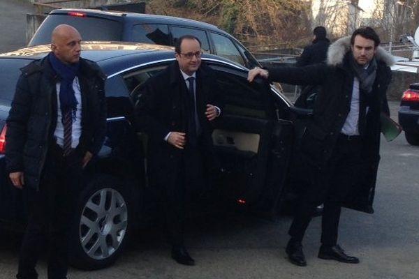François Hollande est arrivé à Tulle ce matin, vers 10h.