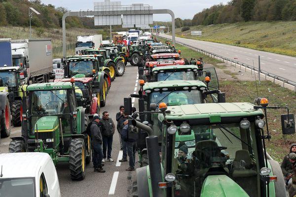 Opération escargot des agriculteurs alsaciens sur les routes pour protester contre le manque de considération