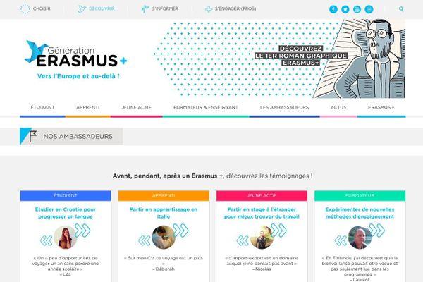 Page d'accueil du site Génération Erasmus +