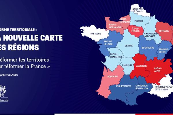 La nouvelle carte des Régions françaises proposée par François Hollande.