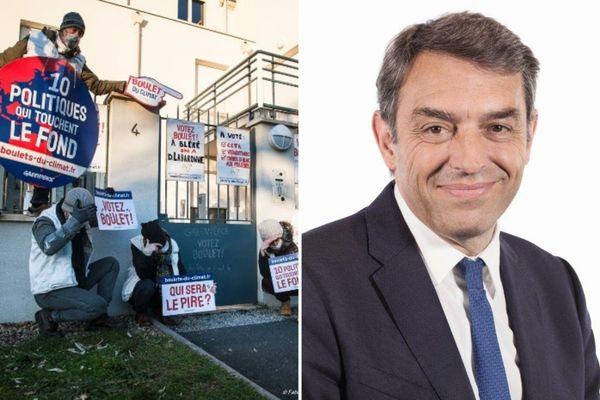 Le 10 janvier 2021, devant la permanence du député LREM Daniel Labaronne. A droite, Daniel Labaronne.